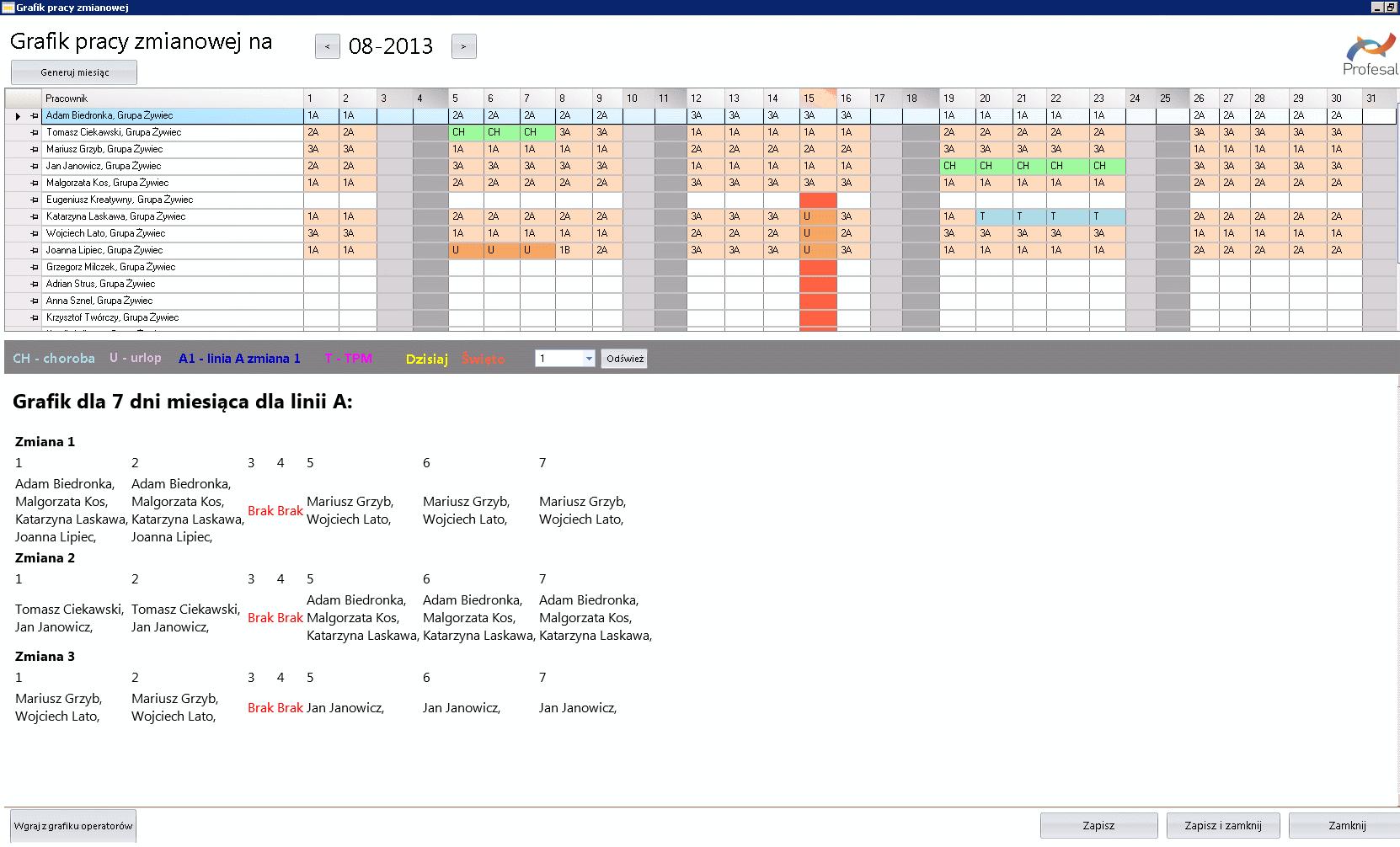 Zrzut ekranu z panelu tworzenia grafiku pracy zmianowej na dany miesiąc