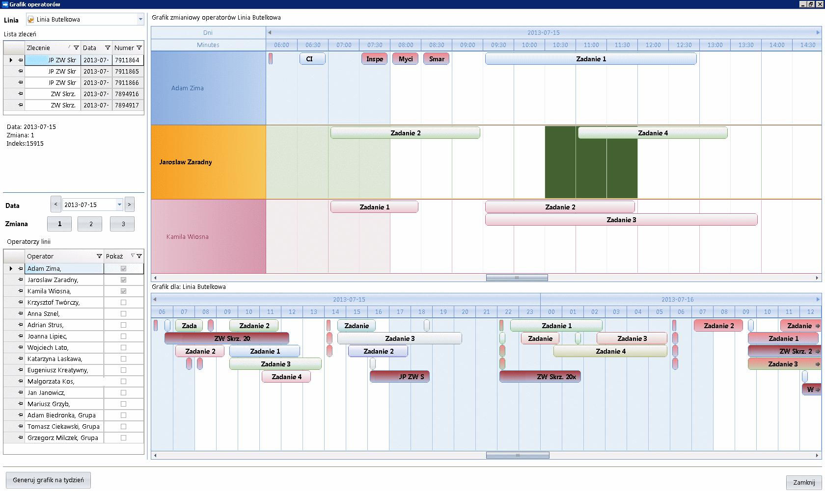 Zrzut ekranu z panelu harmonogramowania zadań