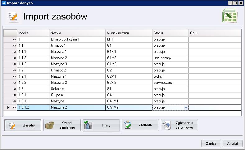 Formularz importu danych z Excela do Profesal Maintenance