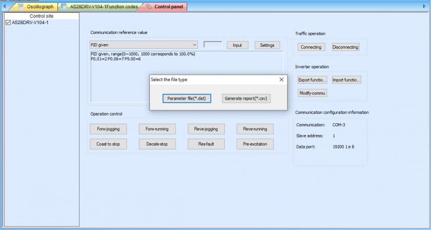 Eksport danych konfiguracji falownika