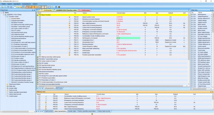 Zmiana parametrów falownika w Astraada DRV CFG