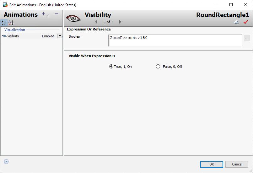 Animacja typu Visibility uwzględniająca poziom powiększenia, źródło AVEVA