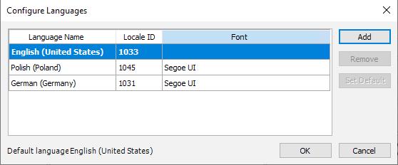 Ekran konfiguracji języków dostępnych w aplikacji wizualizacyjnej, źródło AVEVA