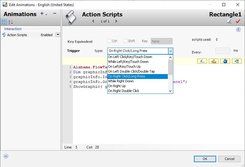 Ekran tworzenia skryptów dla poleceń użytkownika, źródło AVEVA
