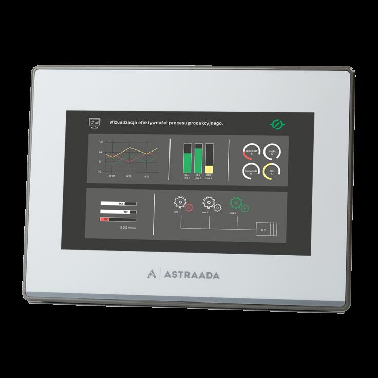 "Dotykowy panel operatorski Astraada HMI, matryca TFT 7"" (800x480, 65k), RS232, RS422/485, RS485, USB Client/Host, Ethernet, 24m gwarancji"