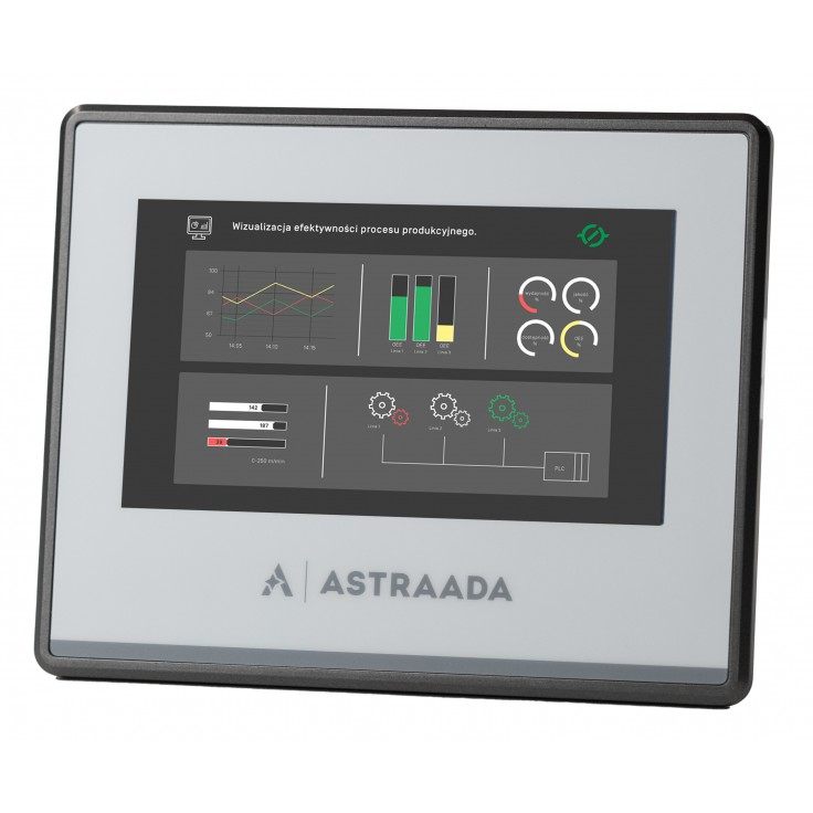 "Dotykowy panel operatorski Astraada HMI, matryca TFT 4,3"" (480x272, 65k), RS232, RS422/485, RS485, USB Client/Host, Ethernet, 24m gwarancji"