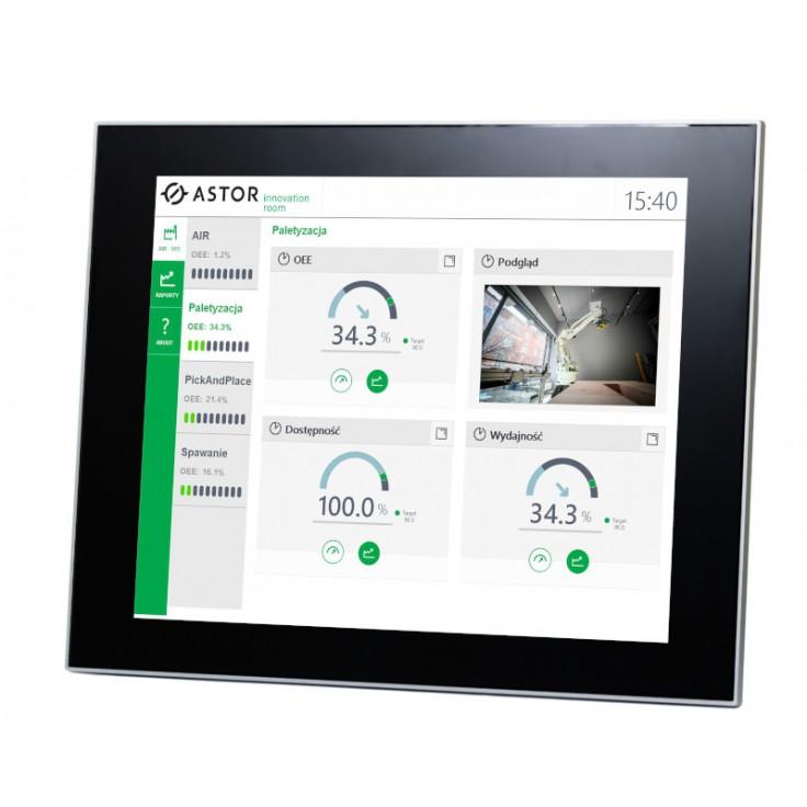 """Przemysłowy monitor dotykowy LED, ekran pojemnościowy 18.5"""", 1366*768, złącza: DVI/VGA, port USB, zasilanie 12VDC z zasilaczem biurkowym w zestawie"""