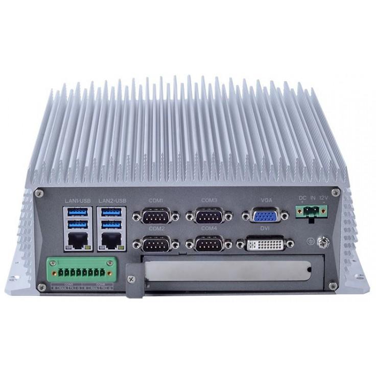 Komputer przemysłowy typu BOX, Intel i5-7400, 8GB RAM, SATA SSD 256 GB, WIN10-PRO/64/ENG, 1x PCIe, 4x RS232, 2x RS232/485, 4x USB 2.0, 4x USB 3.0, 2x LAN, DVI, VGA, HDMI, zasilanie 12VDC z zasilaczem biurkowym w zestawie