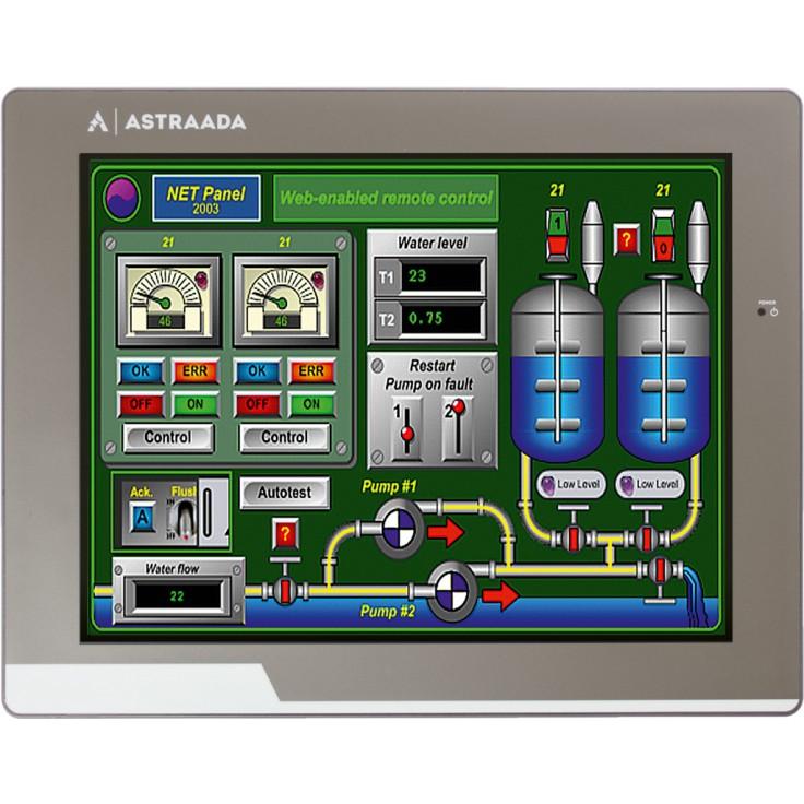"Dotykowy panel operatorski Astraada HMI, matryca TFT 10"" (800x600, 65k), RS232/422/485, RS422/485, RS232, USB Client/Host, Ethernet, MicroSD"