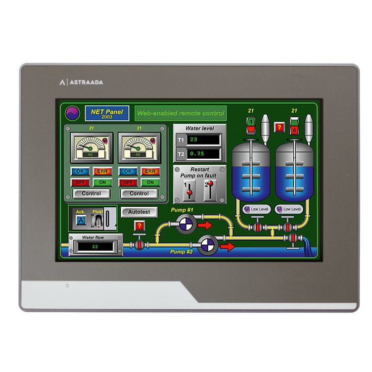 "Dotykowy panel operatorski Astraada HMI, matryca TFT 7"" (800x400, 65k), RS232/422/485, RS422/485, RS232, USB Client/Host, Ethernet, MicroSD"