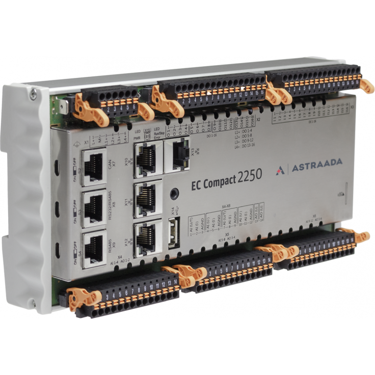 Astraada One ECC2250 - 16DI, 16DO, 12AI, 6AO, web server, RS232/485, CAN, Ethernet, EtherCAT, Modbus TCP/RTU
