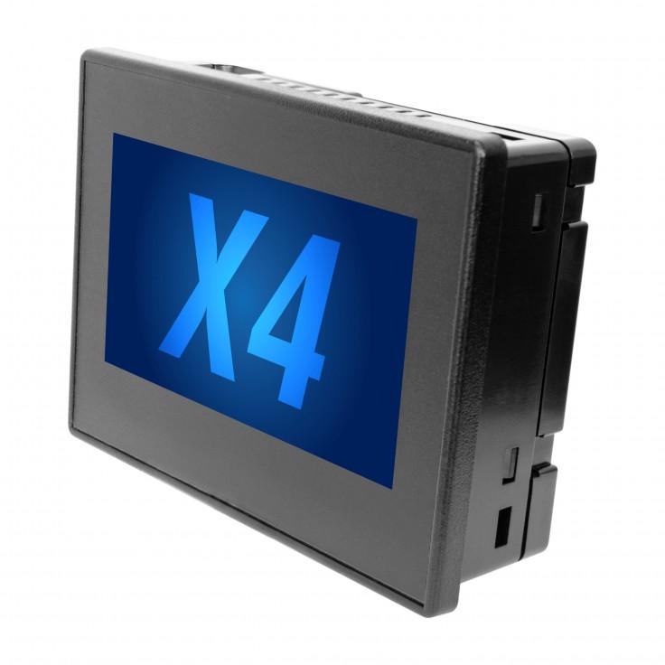 "Sterownik PLC z HMI X4 - 4.3""; 12x DI  (24 VDC; 4HSC, 500 kHz), 12x DO (24 VDC; 2PWM, 65 kHz), 4x AI (0-20mA; 4-20mA; PT100 RTD), 2x (4-20 mA)"