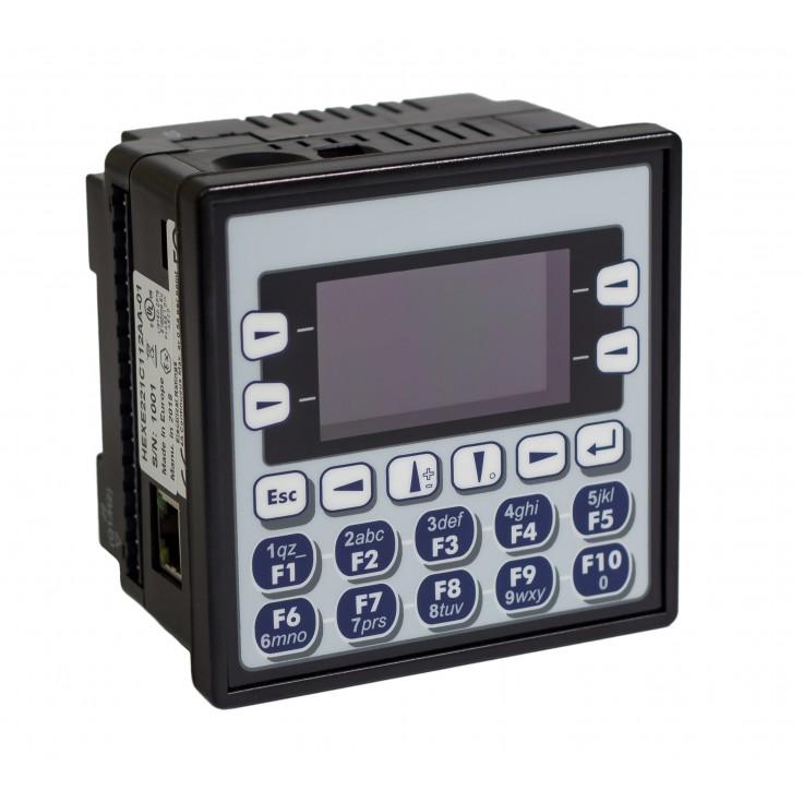 """Sterownik PLC z HMI EXLe - 2.25"""", Ethernet; 12 DI (24V; 4 HSC); 12 DO (24V; 2 PWM); 2 AI (0-10V; 0-20mA; 4-20mA)"""