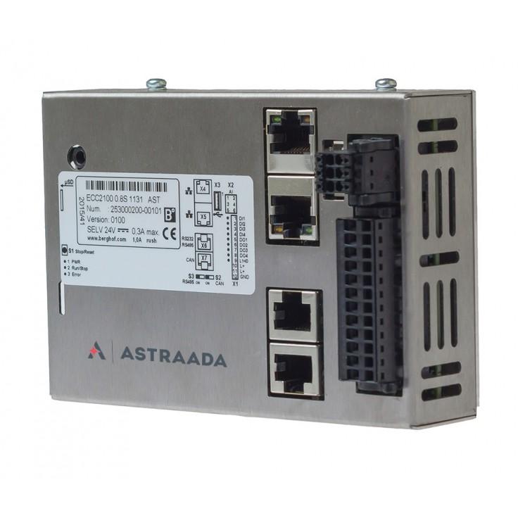 Astraada One ECC2100 - 4DI, 4DO, 4AI, web server, RS232/485, CAN, EtherCAT, Modbus RTU/TCP