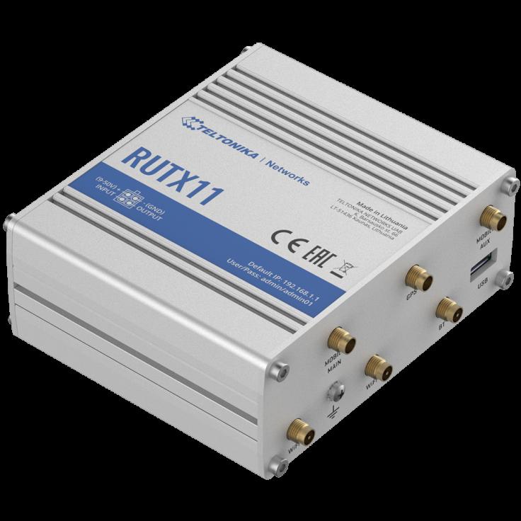 RUTX11 - Router przemysłowy 4G (LTE); Ethernet; 256 MB RAM; DUAL SIM; Bluetooth; SMS; IPSec; openVPN; WiFi; montaż na szynie DIN