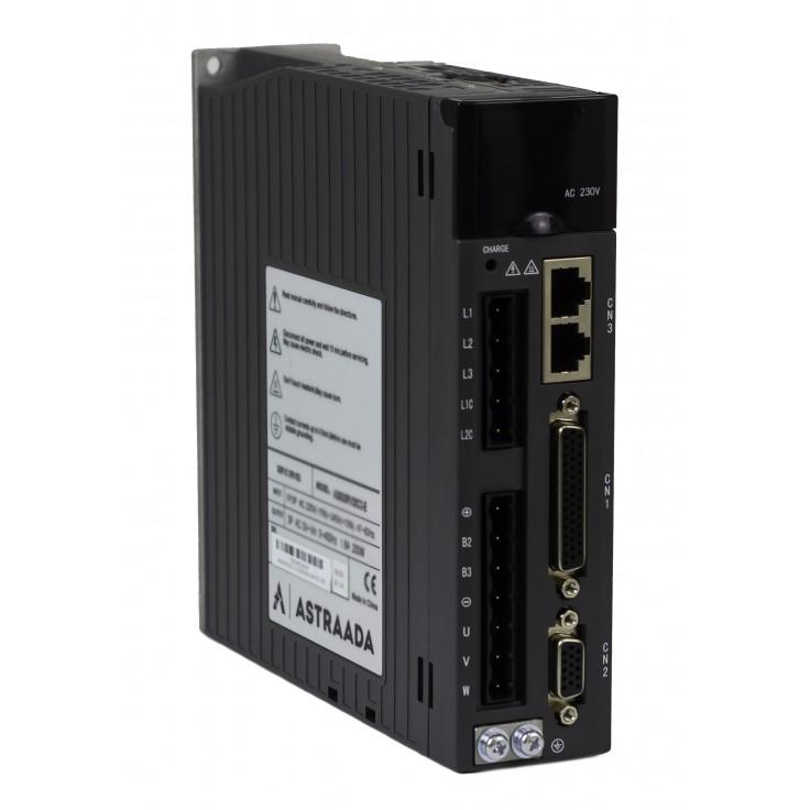 Serwowzmacniacz o mocy 0.2 kW, zasilanie 230V, sterowanie: Modbus RTU, wejście impul., analog., zew. enkoder