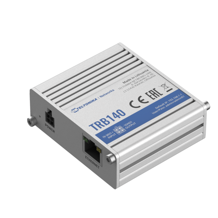 TRB140 - Gateway komórkowy 4G (LTE); Ethernet; 128MB RAM; SMS; IPSec; openVPN; możliwy montaż na szynie DIN
