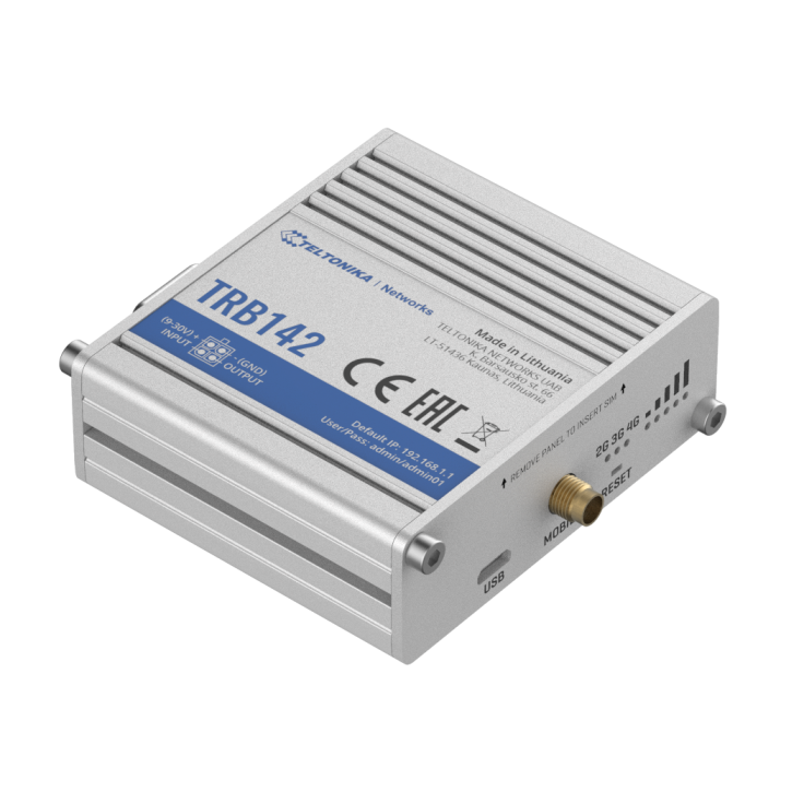 TRB142 - Gateway komórkowy 4G (LTE); RS232; 128MB RAM; SMS; IPSec; openVPN; możliwy montaż na szynie DIN