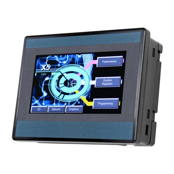 "Sterownik PLC z HMI X5 - 4.3"", 4 DI (24V, 4 HSC 500 KHz), 4 DO (24V, 2 PWM 500 KHz), 4 AI (0-10V, 0-20mA, 4-20mA, 12 bit)"