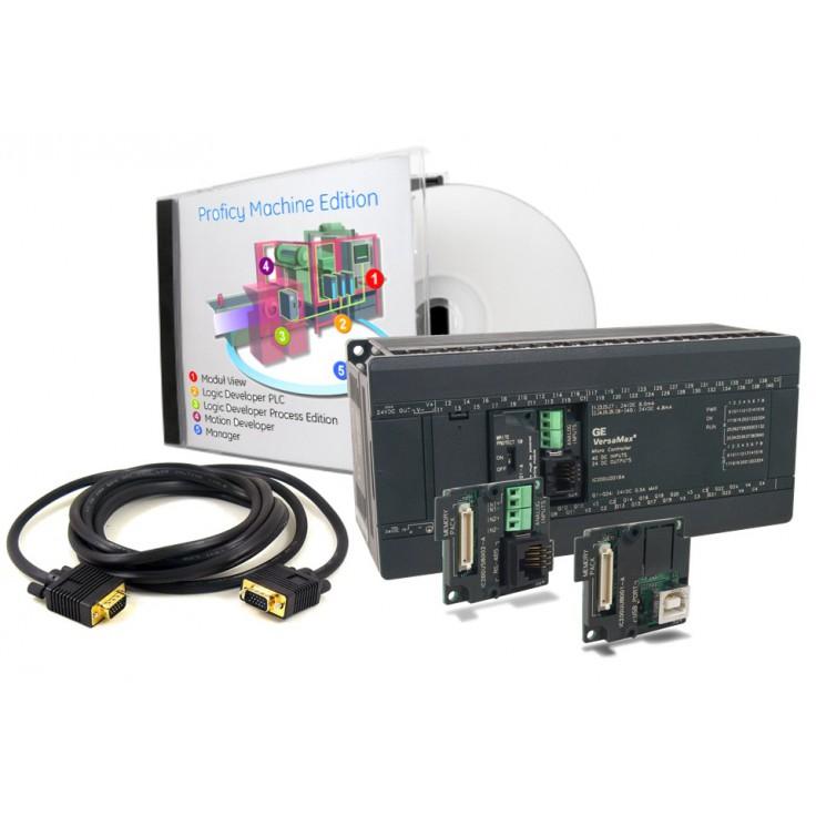 PROMOCJA - VersaMax Micro PLUS Zestaw startowy; IC200UDR164 (48kB, RS232, 40 DI 24VDC, 24 DO Relay 2A, zasilanie 230VAC), IC200USB001 (RS232, 2 AI 0-10V), Proficy Machine Edition, kabel do programowania