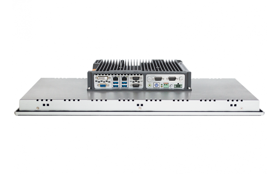 """Przemysłowy komputer panelowy 21.5"""", pojemnościowy 1920*1080, Intel i5-7200U, 8GB RAM, SATA SSD 256 GB, WIN10-PRO/64/ENG, 2x RS232/485,  4x USB, 2x Intel Gigalan, DVI-D+VGA, zasilanie 12-24VDC z zasilaczem 2"""