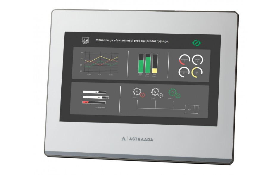 "Dotykowy panel operatorski Astraada HMI, matryca TFT 10,1"" (1024x600, 65k), RS232, RS422/485, RS485, USB Client/Host, Ethernet, 24m gwarancji"