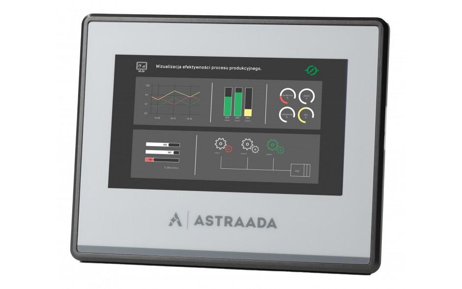 "Dotykowy panel operatorski Astraada HMI, matryca TFT 4,3"" (480x272, 65k), RS232, RS422/485, RS485, USB Client/Host, 24m gwarancji"