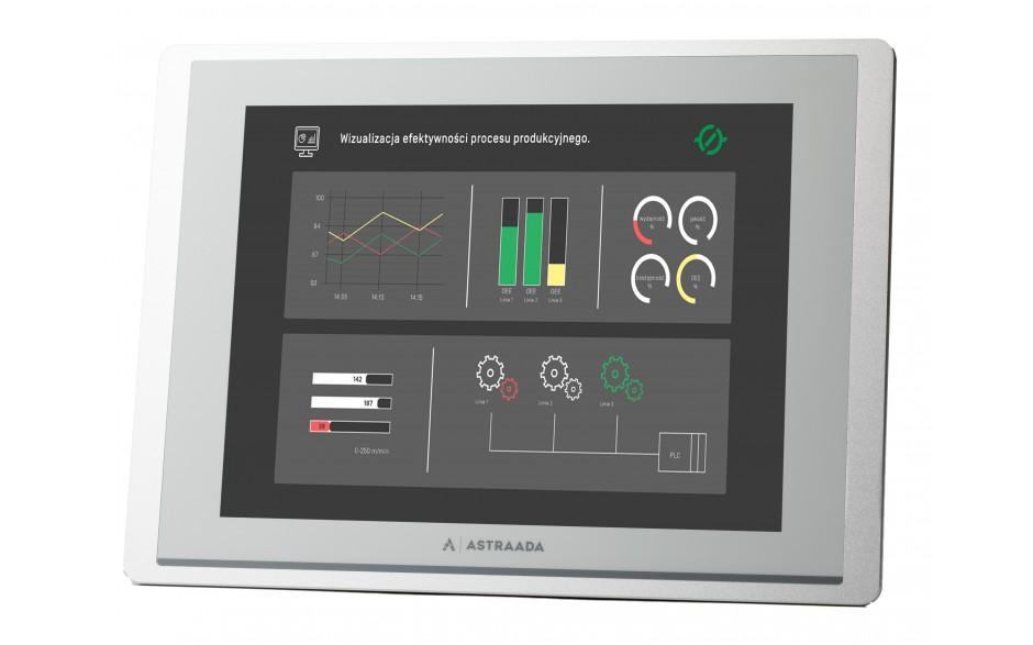 "Dotykowy panel operatorski Astraada HMI, matryca TFT 12,1"" (1024x768, 65k), RS232, RS422/485, 3x RS485, USB Client/Host, Ethernet, 30m gwarancji"