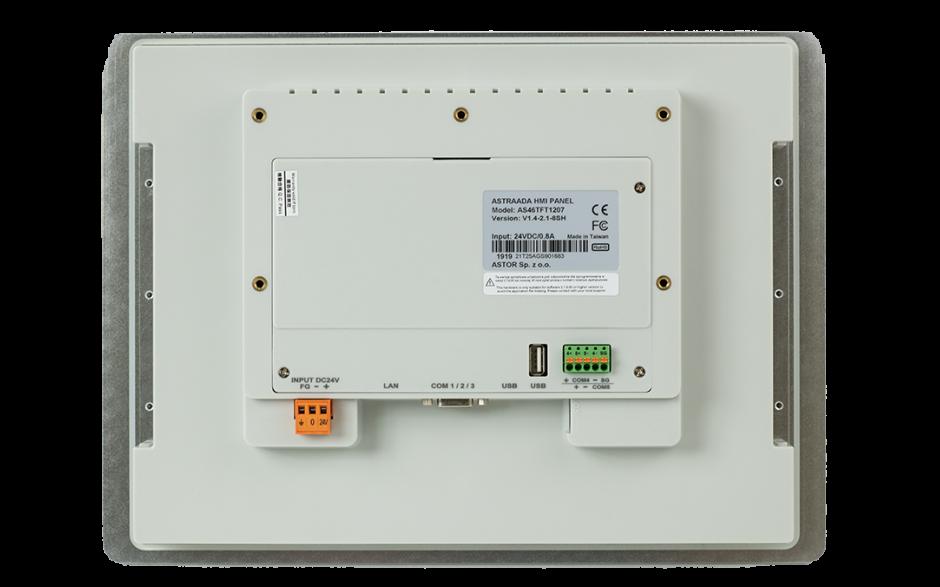 """Wyprzedaż - Dotykowy panel operatorski Astraada HMI, matryca TFT 12,1"""" (1024x768, 65k), RS232, RS422/485, 3x RS485, USB Client/Host, Ethernet,  3"""