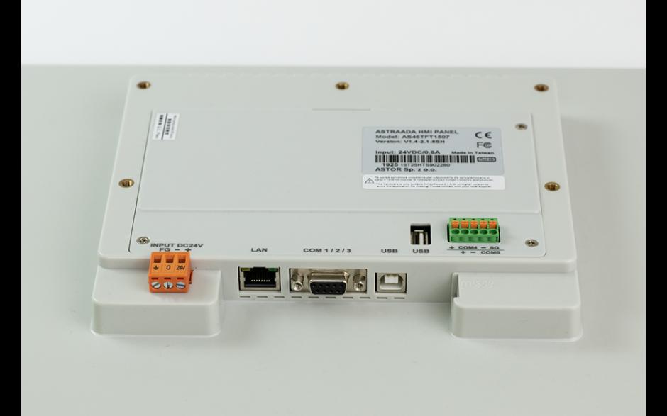 "PROMOCJA - Dotykowy panel operatorski Astraada HMI, matryca TFT 15"" (1024x768, 65k), RS232, RS422/485, 3x RS485, USB Client/Host, Ethernet, 30m gwarancji 4"