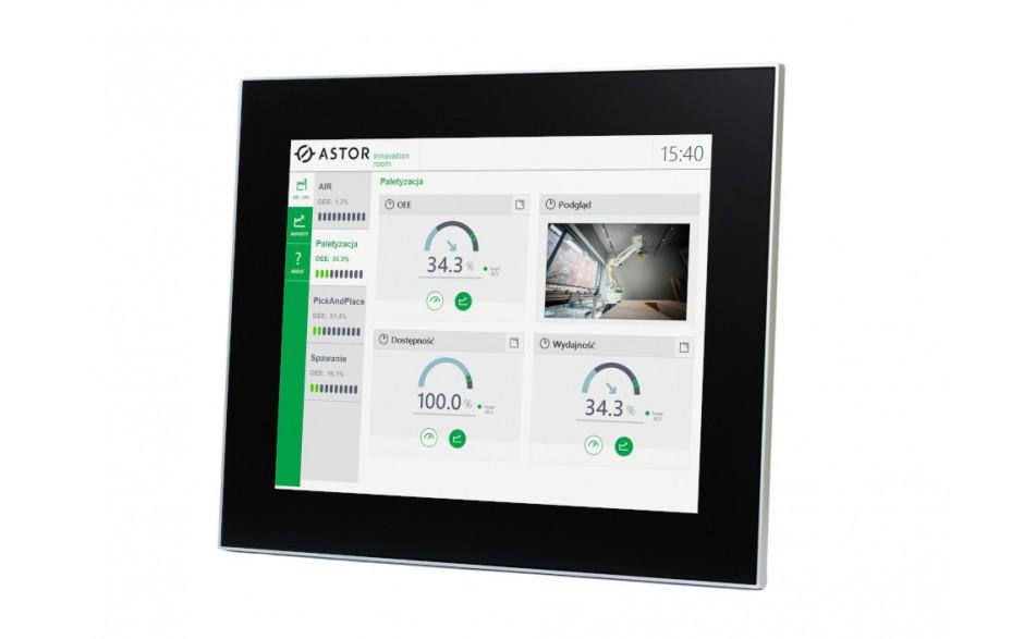 """Przemysłowy monitor dotykowy LED, ekran pojemnościowy 15"""", 1024*768, złącza: DVI/VGA, port USB, zasilanie 12VDC z zasilaczem biurkowym w zestawie"""