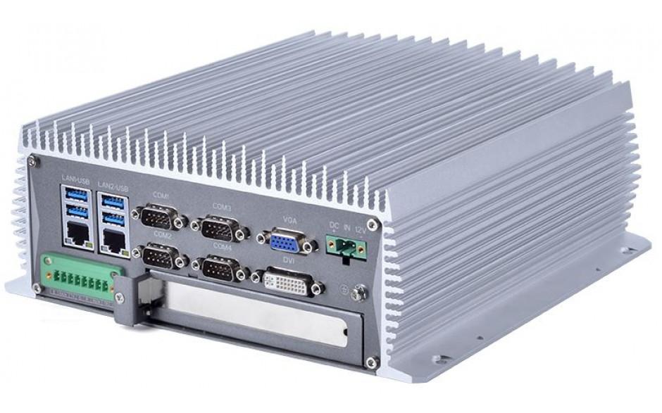 Komputer przemysłowy typu BOX, Intel i5-7400, 8GB RAM, SATA SSD 256 GB, WIN10-PRO/64/ENG, 1x PCIe, 4x RS232, 2x RS232/485, 4x USB 2.0, 4x USB 3.0, 2x LAN, DVI, VGA, HDMI, zasilanie 12VDC z zasilaczem biurkowym w zestawie 4