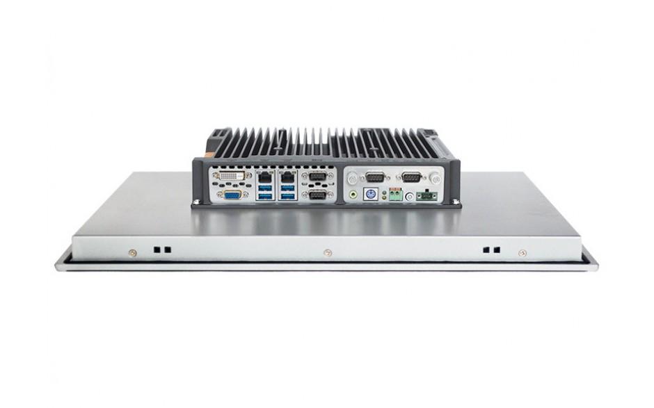 """Przemysłowy komputer panelowy 18,5"""", dotykowy pojemnościowy, 1366*768, Intel i5-7200U, 8GB RAM, SATA SSD 256 GB, WIN10-PRO/64/ENG, 2x RS232/485, 4x USB 3.0, 2x Intel Gigalan, DVI-D + VGA, zasilanie 12-24VDC z zasilaczem 2"""