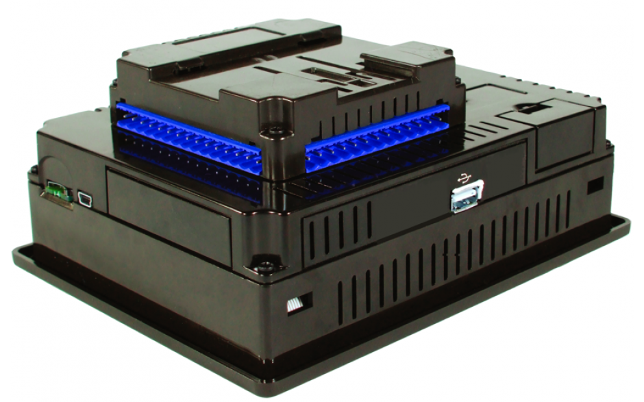 "Sterownik PLC z HMI EXL6 - 5.7"", 24 DI (24V, 4 HSC), 16 DO (24V, 2 PWM), 2 AI (0-10V, 0-20mA, 4-20mA) 3"