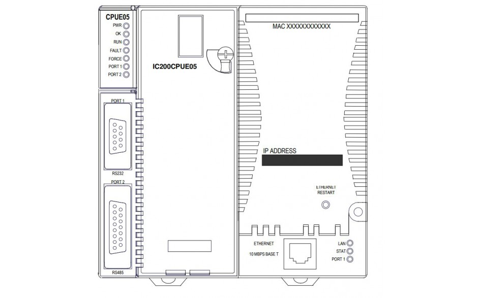 VersaMax - Konfigurowalna pamięć 128kB, szybkość - 0.8 ms/kB, port RS-232, RS-422/485, Ethernet 2