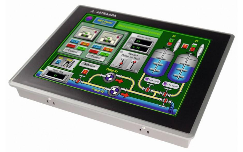 """Dotykowy panel operatorski Astraada HMI o przekątnej 12"""", matryca TFT o rozdzielczości 1024 x 768, 65535 kolorów, temperatura pracy: -20 do +60°C"""