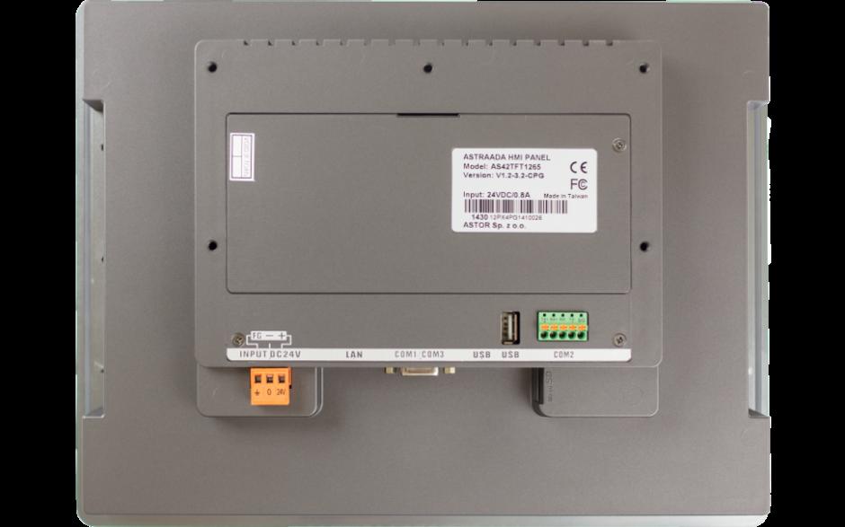 "Dotykowy panel operatorski Astraada HMI, matryca TFT 12"" (1024x768, 65k), RS232/422/485, RS422/485, RS232, USB Client/Host, Ethernet, MicroSD, -20~60C 5"