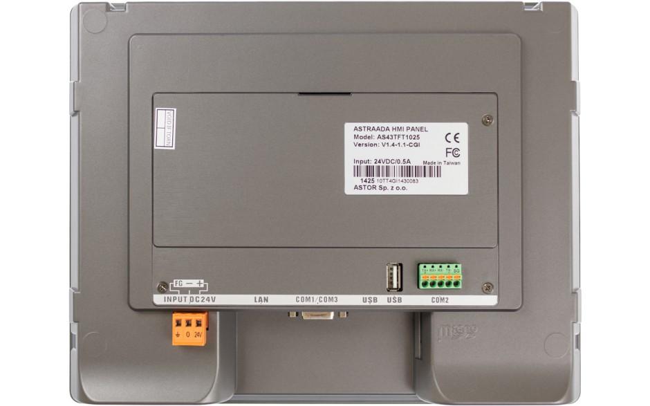 "Dotykowy panel operatorski Astraada HMI, matryca TFT 10"" (800x600, 65k), RS232/422/485, RS422/485, RS232, USB Client/Host, Ethernet, MicroSD 3"