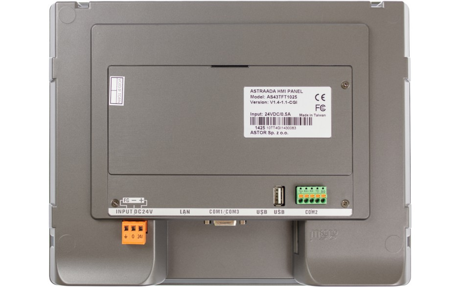 "Dotykowy panel operatorski Astraada HMI, matryca TFT 10"" (1024x600, 65k), RS232/422/485, RS232, USB Client/Host, Ethernet 3"