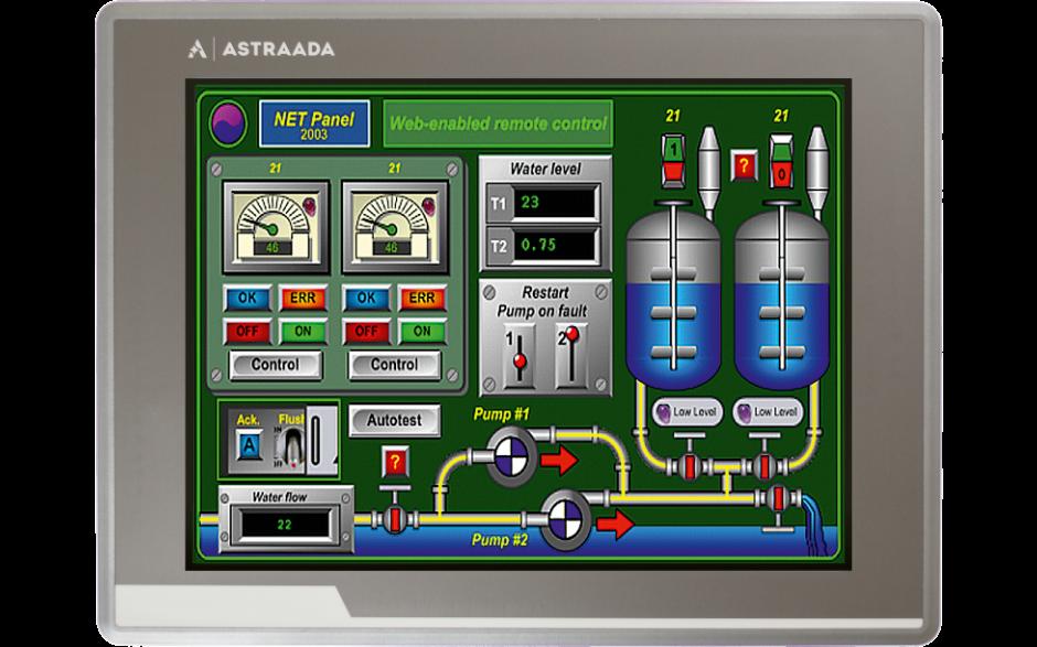 "Dotykowy panel operatorski Astraada HMI, matryca TFT 12"" (1024x768, 65k), RS232/422/485, RS422/485, RS232, USB Client/Host, Ethernet, MicroSD, -20~60C 4"