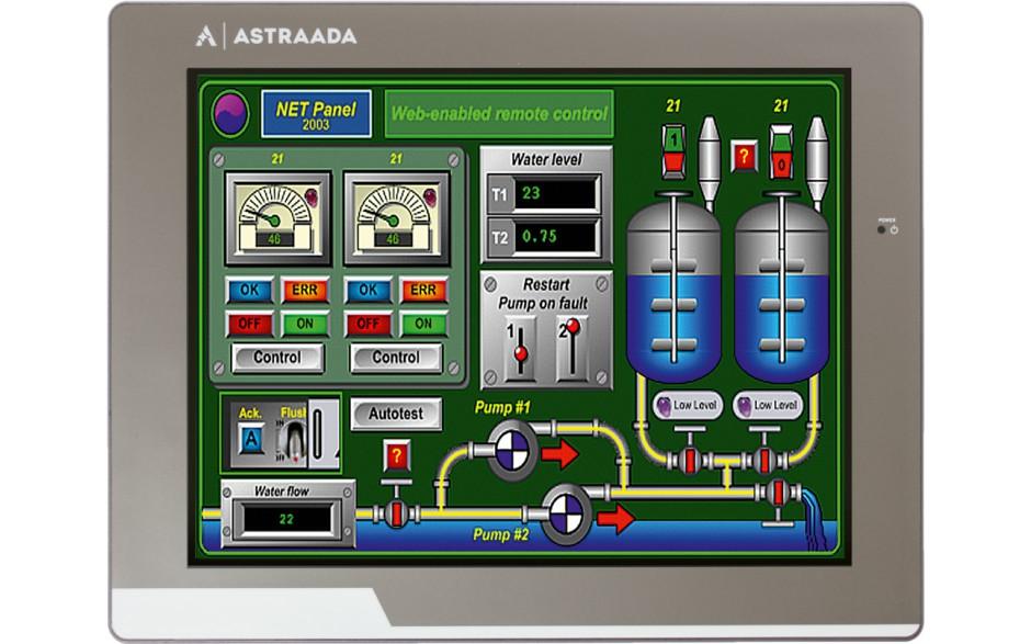 "Dotykowy panel operatorski Astraada HMI, matryca TFT 10"" (1024x600, 65k), RS232/422/485, RS232, USB Client/Host, Ethernet"