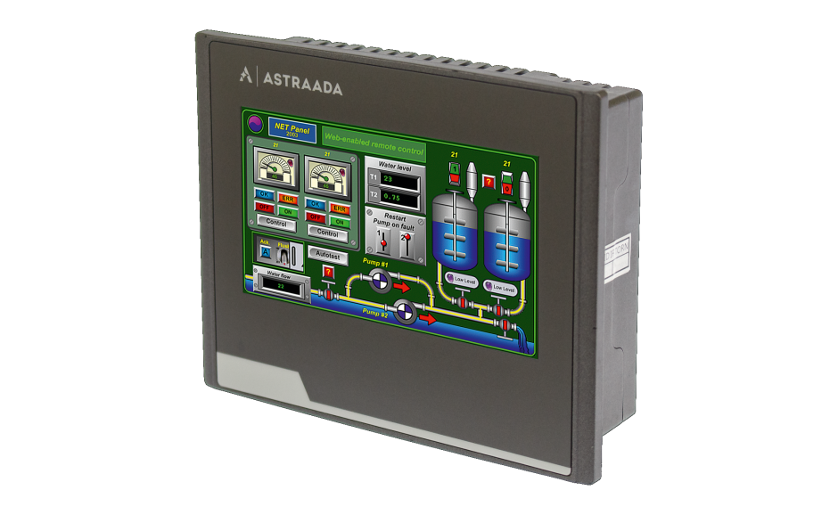 "Dotykowy panel operatorski Astraada HMI, matryca TFT 4,3"" (480x272, 65k), RS232/422/485, RS422/485, RS232, USB Client/Host, Ethernet, MicroSD 4"