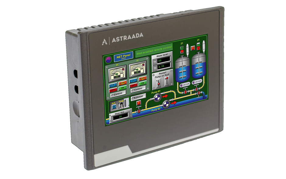 "Dotykowy panel operatorski Astraada HMI, matryca TFT 4,3"" (480x272, 65k), RS232/422/485, RS422/485, RS232, USB Client/Host, Ethernet, MicroSD 5"
