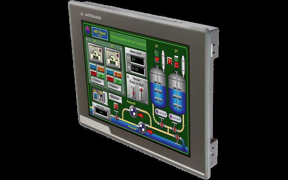 "Dotykowy panel operatorski Astraada HMI, matryca TFT 12"" (1024x768, 65k), RS232/422/485, RS422/485, RS232, USB Client/Host, Ethernet, MicroSD, -20~60C 2"