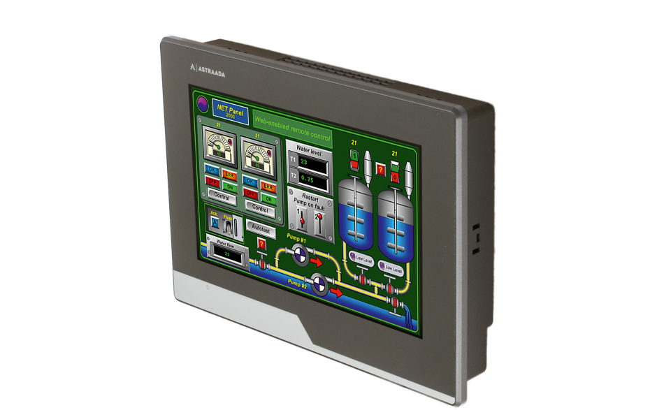 "Dotykowy panel operatorski Astraada HMI, matryca TFT 7"" (800x400, 65k), RS232/422/485, RS422/485, RS232, USB Client/Host, Ethernet, MicroSD 3"
