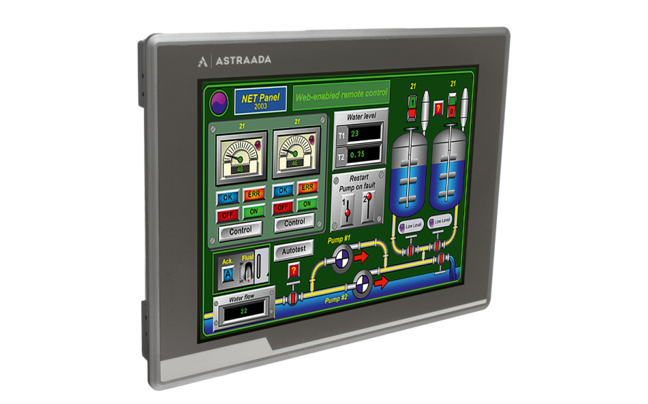 "Dotykowy panel operatorski Astraada HMI, matryca TFT 12"" (1024x768, 65k), RS232/422/485, RS422/485, RS232, USB Client/Host, Ethernet, MicroSD, -20~60C 6"