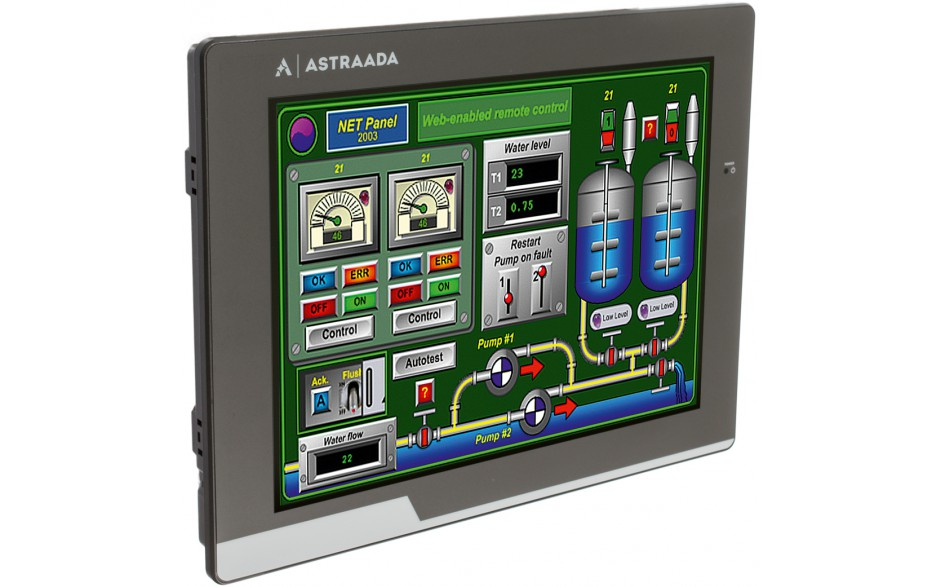 "Dotykowy panel operatorski Astraada HMI, matryca TFT 10"" (800x600, 65k), RS232/422/485, RS422/485, RS232, USB Client/Host, Ethernet, MicroSD 5"
