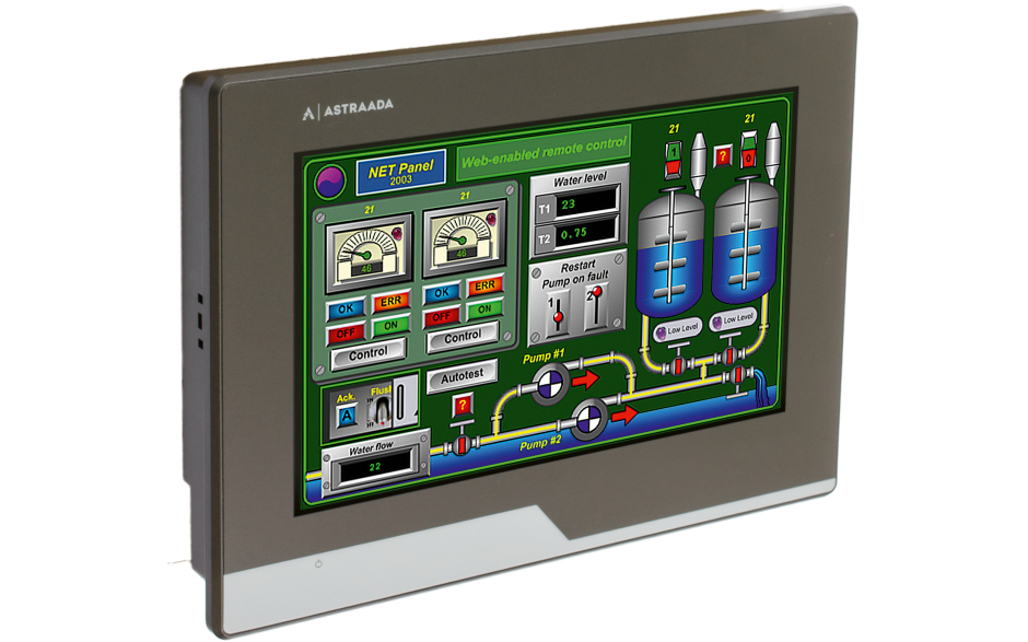 "Dotykowy panel operatorski Astraada HMI, matryca TFT 7"" (800x400, 65k), RS232/422/485, RS422/485, RS232, USB Client/Host, Ethernet, MicroSD 4"