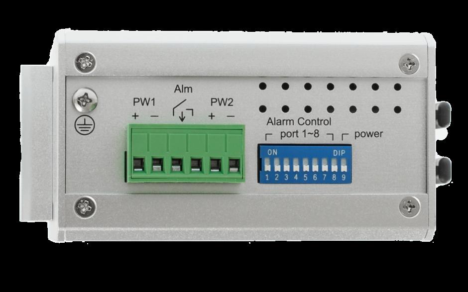 Switch niezarządzalny przemysłowy, Ethernet - 8-portowy (6 x 10/100 Base-TX + 2 złącza SC singlemode (100 Base-X) 3