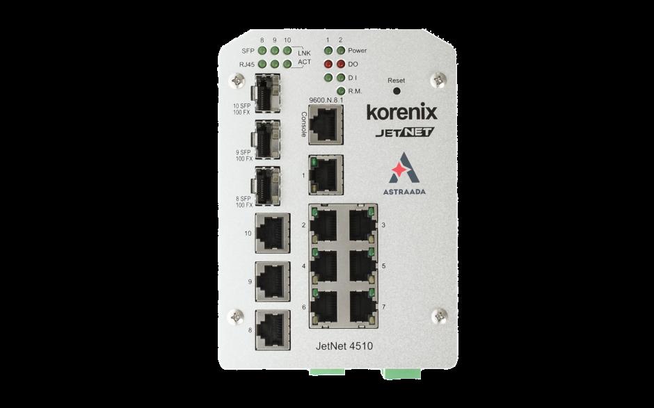 Switch zarządzalny przemysłowy, Ethernet - 10-portowy (7 x 10/100 Base-TX + 3 x RJ45/SFP  - 100 Base-X), RING, Modbus TCP 3